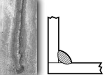 A photo and diagram depicting a convex weld bead.