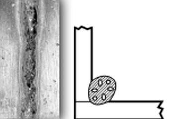 a photo and diagram depicting a porous weld