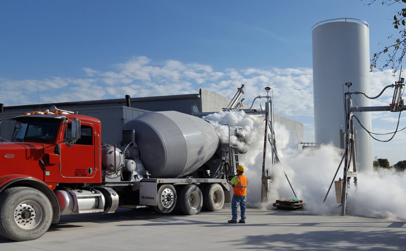 Cryocrete truck pouring liquid nitrogen to cool concrete